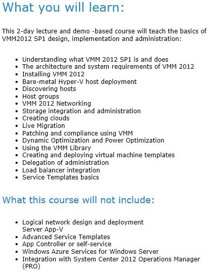 Event: System Center 2012 Virtual Machine Manager SP1 Training