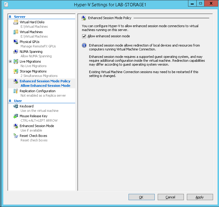 Enabling Remote Desktop Connection To WS2012R2 Virtual