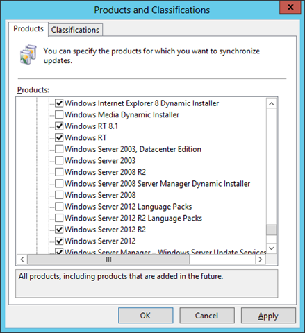 Make Sure You Add Win 8 1, WinRT 8 1, and WS2012 R2 Products in WSUS