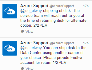 Courier to ship disks to Azure
