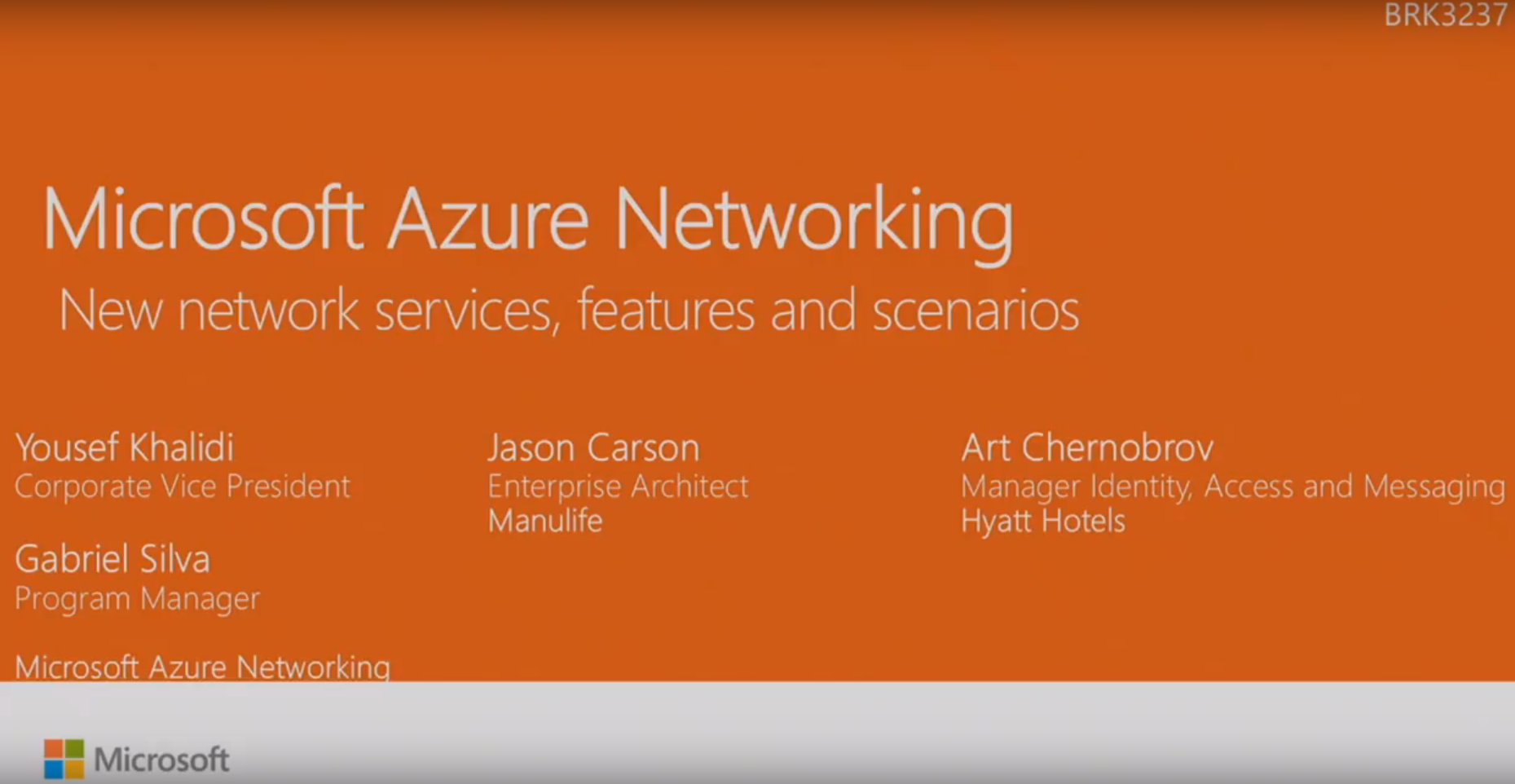 Ignite 2016 – Microsoft Azure Networking: New Network Services, Features And Scenarios