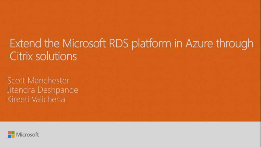 Ignite 2016 – Extend the Microsoft RDS platform in Azure