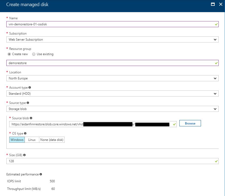 Create an Azure Managed Disk from a VHD Blob | Aidan Finn