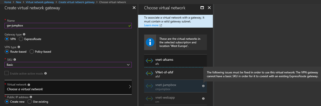 Can't Create Basic Azure VNet Gateway | Aidan Finn, IT Pro